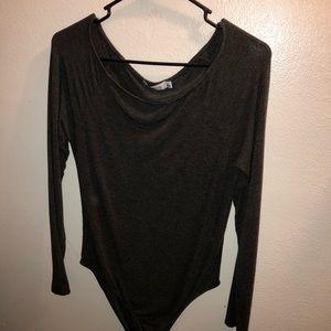 Charcoal Off The Shoulder Bodysuit